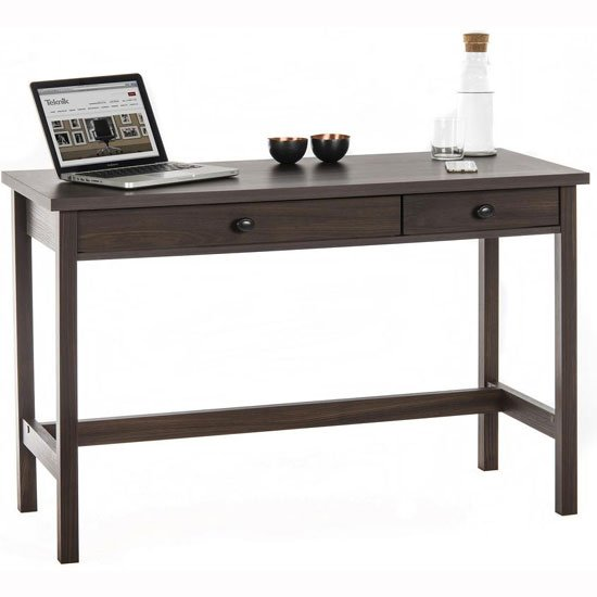 Athena Computer Desk In Rum Walnut With 2 Drawers