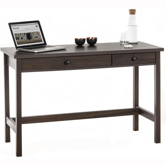 Read more about Athena computer desk in rum walnut with 2 drawers