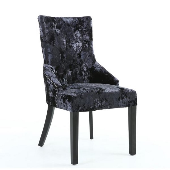 Athena Modern Dining Chair In Crushed Black Velvet Fabric