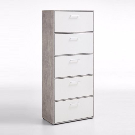 Athena Tall Shoe Storage Cabinet In Light Atelier White