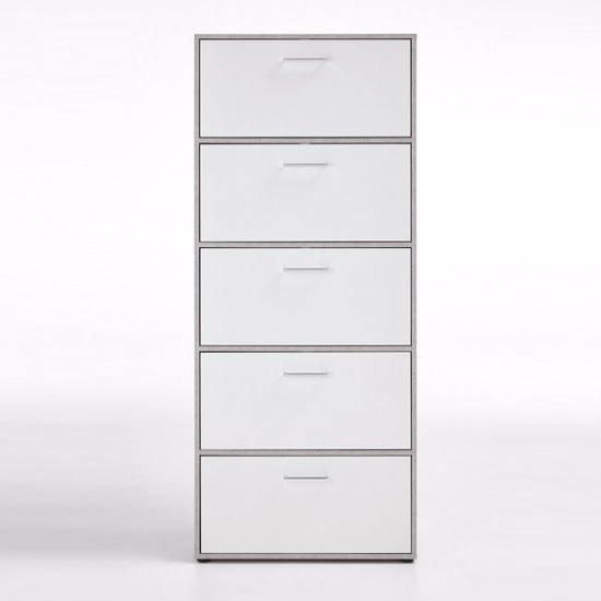 Athena Tall Shoe Storage Cabinet In Light Atelier White_4
