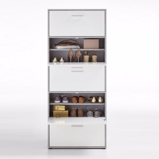 Athena Tall Shoe Storage Cabinet In Light Atelier White_2