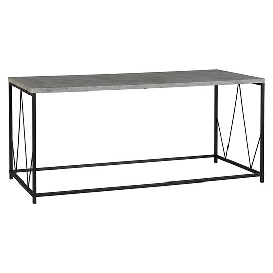 Athens Rectangular Coffee Table In Concrete Effect And Black