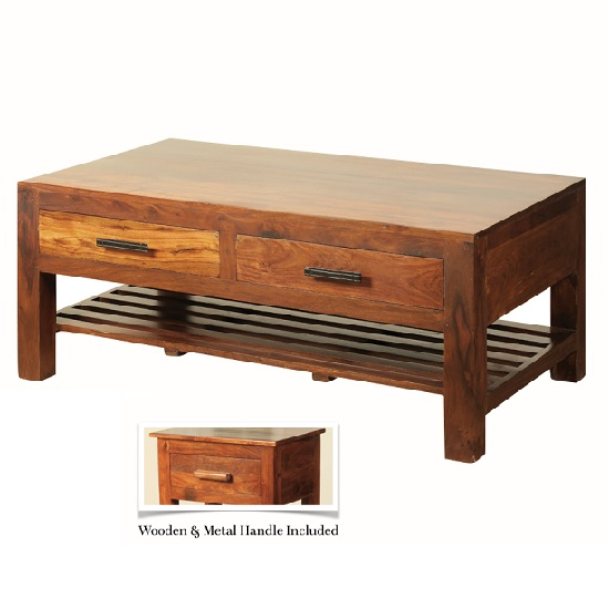 Athens Rectangular Coffee Table In Solid Shesham Wood