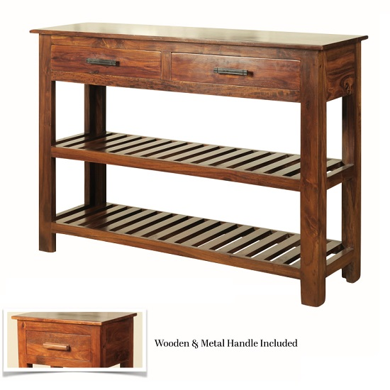 Athens Console Table In Solid Shesham Wood With 2 Drawers