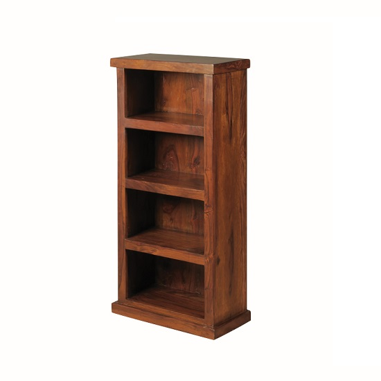 Athens Low Narrorw Bookcase In Solid Shesham Wood