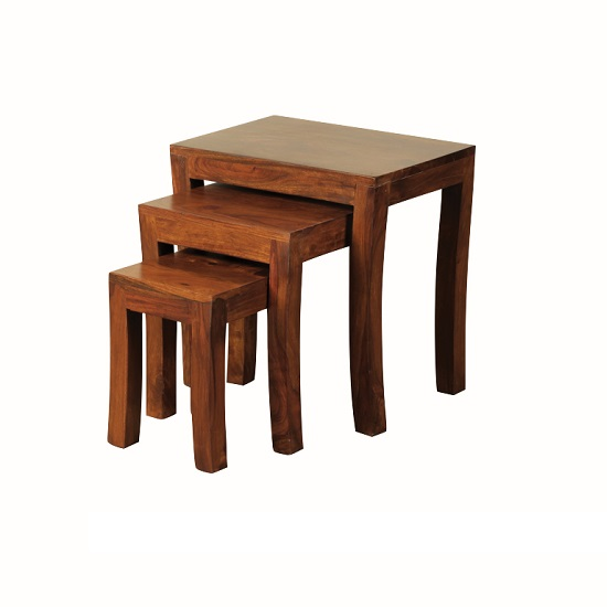 Athens nest of 3 tables in solid shesham wood for Furniture in fashion