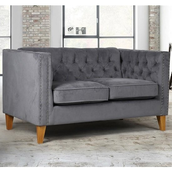 Image of Atherton Fabric 2 Seater Sofa In Grey Velvet With Wooden Legs