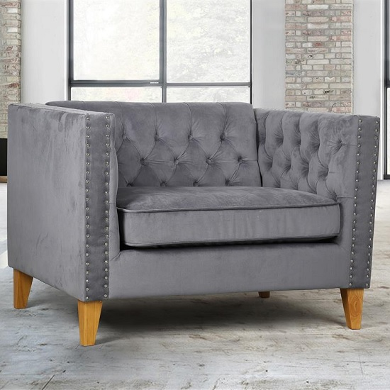 Atherton Fabric Sofa Chair In Grey Velvet With Wooden Legs