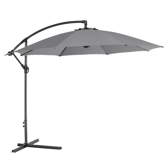 Athine 300cm Round Cantilever Parasol In Light Grey
