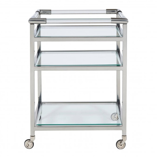 Atik Clear Glass Drinks Trolley In Nickel_1