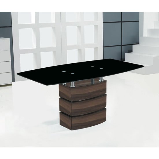Atlanta Black Glass Top Dining Table With Walnut Base