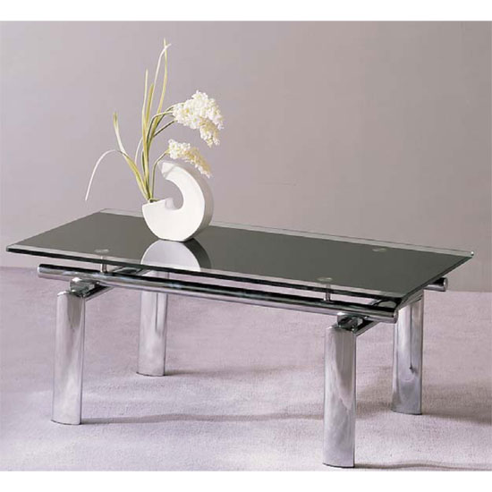 Atlanta Black Glass Coffee Table With Chrome Legs 10885