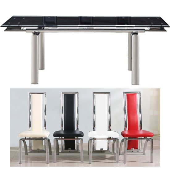 Atlanta Black Glass Dining Table With 6 Chicago Dining Chairs