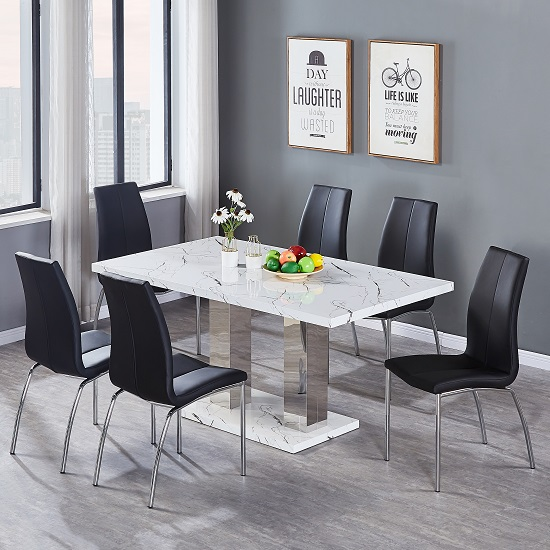 Atlanta Dining Table In Marble Effect Gloss With 6 Grey Chairs_2