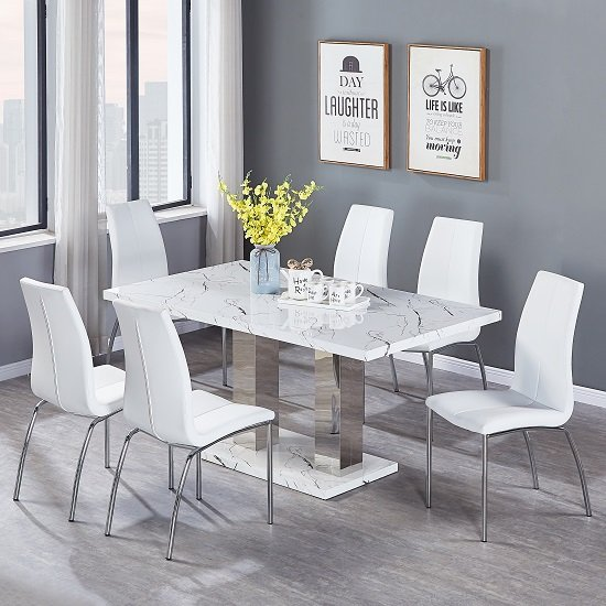 Atlanta Dining Table In Marble Effect Gloss With 6 Grey Chairs_3