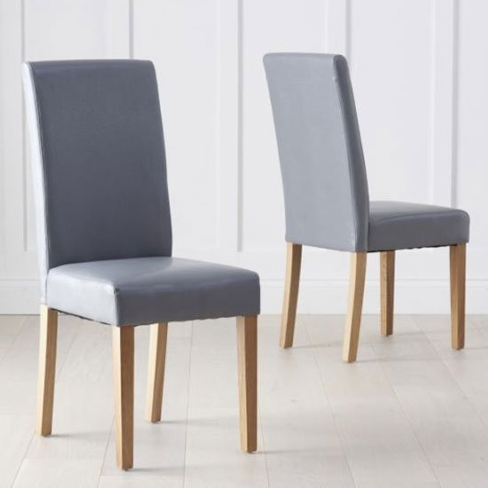 Atlenka Grey Faux Leather Dining Chairs In A Pair