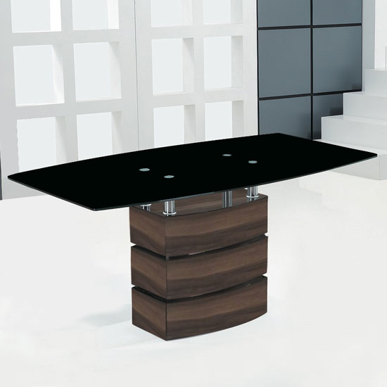 Atlanta Large Black Glass Top Dining Table With Walnut Base