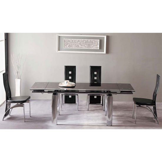 Atlanta Black With Clear Glass Border Dining Table And 6 Chairs