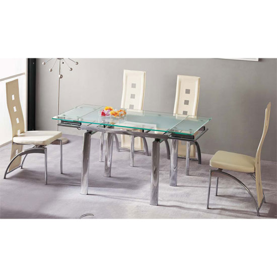 Atlanta Frosted With Clear Border Glass Dining Table Only