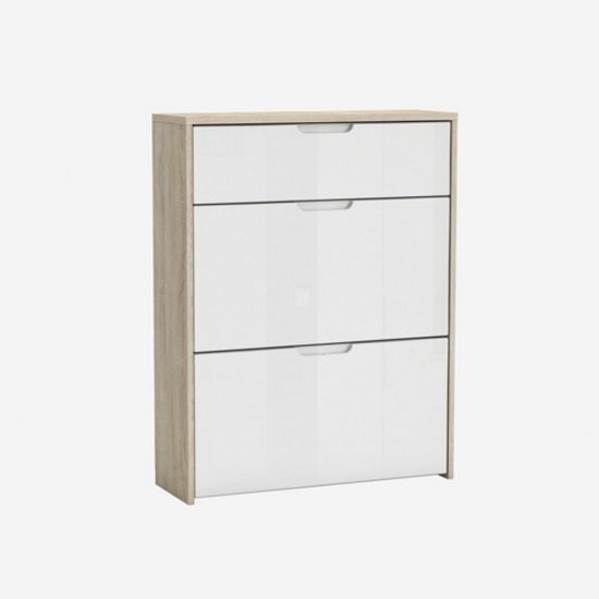 Bozen Shoe Cabinet In Brushed Oak And White High Gloss