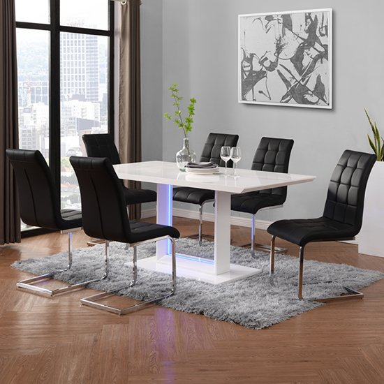 View Atlantis led large white gloss dining table 6 paris black chair
