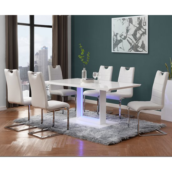 Atlantis LED Large White Gloss Dining Table 6 Petra White Chairs
