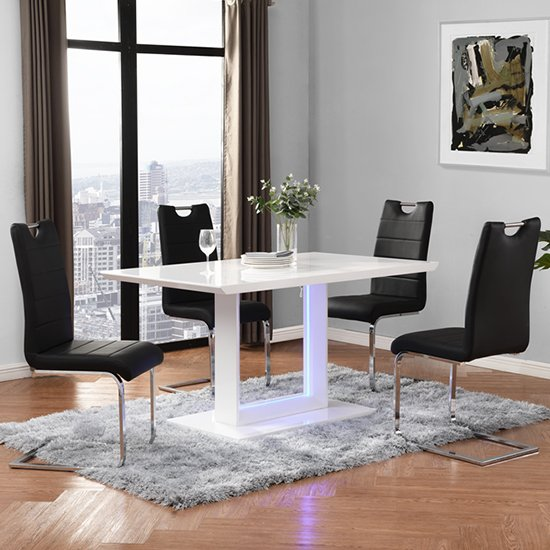 Atlantis LED Small White Gloss Dining Table 4 Petra Black Chairs