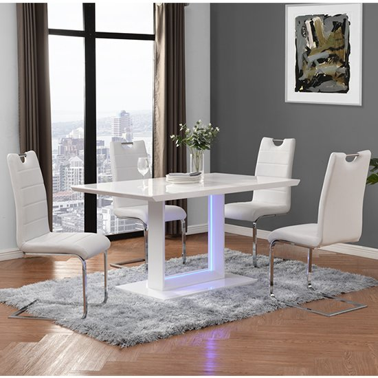 Atlantis LED Small White Gloss Dining Table 4 Petra White Chairs