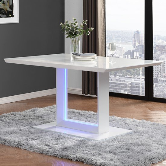 Atlantis LED Small High Gloss Dining Table In White