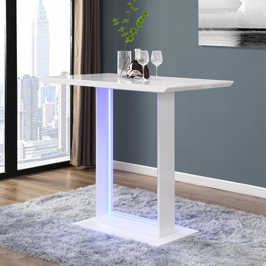 Atlantis LED High Gloss Bar Table In White