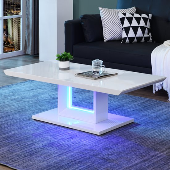 View Atlantis led high gloss coffee table in white