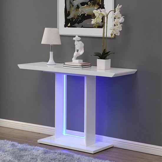 View Atlantis led high gloss console table in white