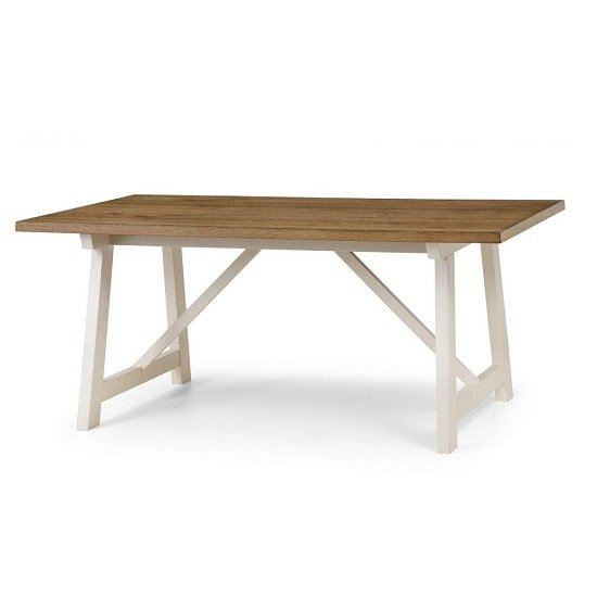 Atlantis Wooden Dining Table In Oak With Ivory Lacquered Base