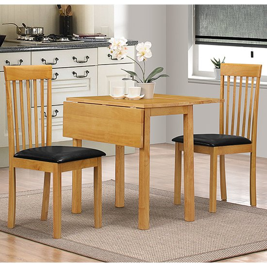 Atlas Dropleaf Dining Set In Oak With 2 Chairs_1