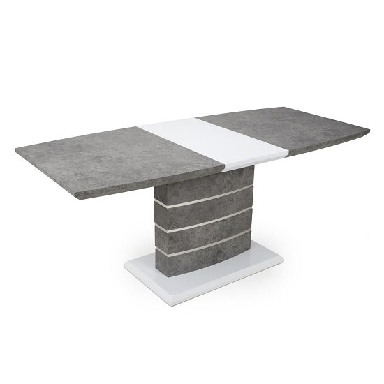 Atlas Extending Granite Effect Dining Table 4 Silver Grey Chairs_2