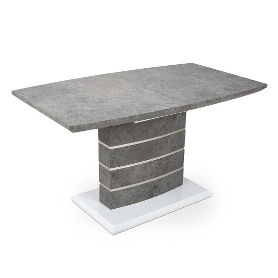 Atlas Extending Granite Effect Dining Table 4 Silver Grey Chairs_3