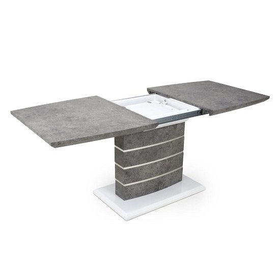 Atlas Extending Granite Effect Dining Table 4 Silver Grey Chairs_4