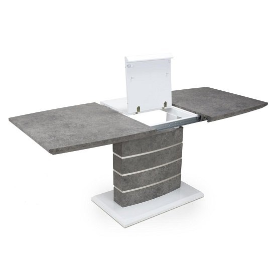 Atlas Extending Granite Effect Dining Table 4 Silver Grey Chairs_5