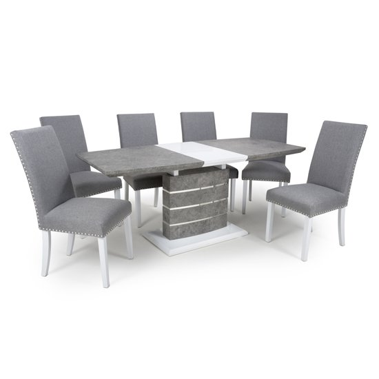 Atlas Extending Granite Effect Dining Table 4 Silver Grey Chairs_1