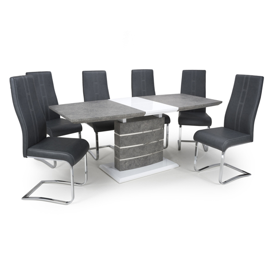 Atlas Extending Granite Effect Dining Table 4 Nova Grey Chairs