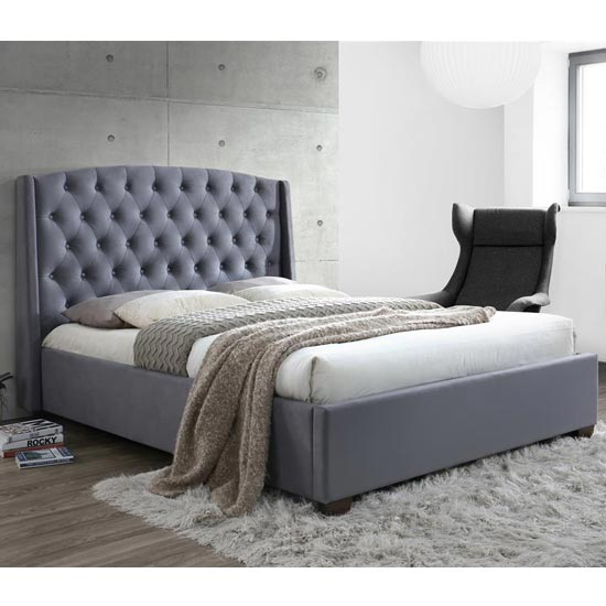 Atlas Fabric Double Bed In Grey Velvet