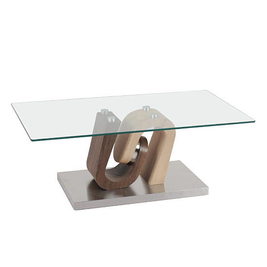 Atlas Glass Coffee Table With Wooden And Steel Base