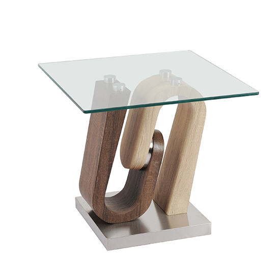 Atlas Glass End Table With Wooden And Steel Base