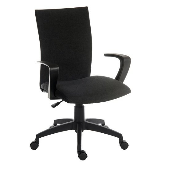 Atlas Fabric Home Office Chair In Black With Castors