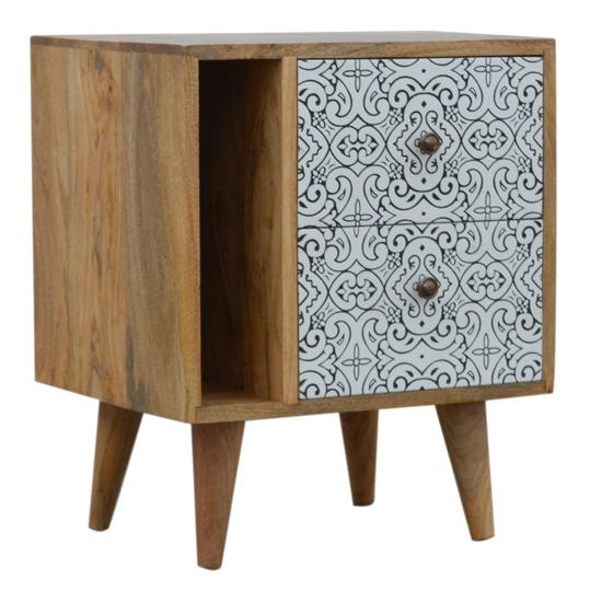 View Atria wooden porcelain pattern bedside cabinet in oak ish