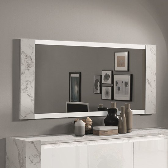 Attoria Bedroom Mirror In White Marble Effect Wooden Frame
