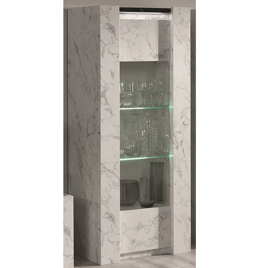 Attoria LED 1 Door Display Cabinet Black And White Marble Effect