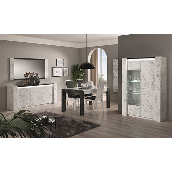 Attoria LED 2 Door Display Cabinet Black And White Marble Effect_2