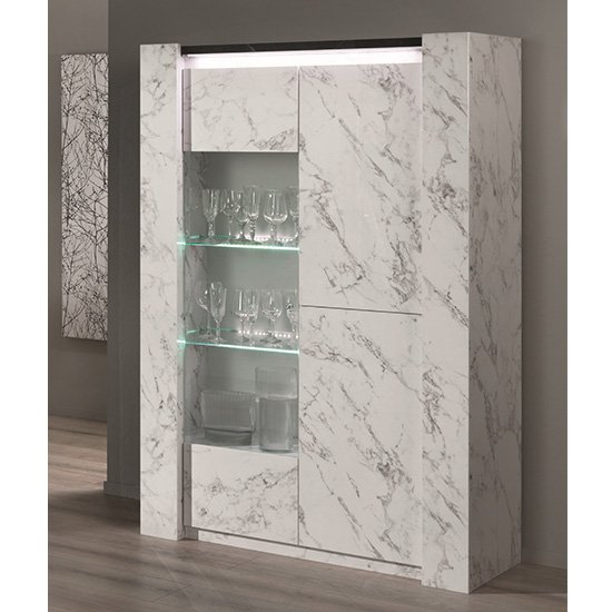 Attoria LED 2 Door Display Cabinet Black And White Marble Effect_1
